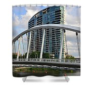 Fx1l820 Main Street Bridge In Front Of Miranova Shower Curtain