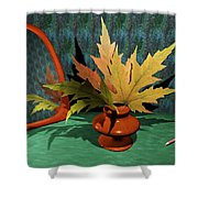 Mirror And Leaves Shower Curtain