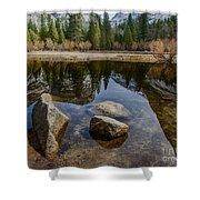 Mirror Lake Threesome Yosemite Shower Curtain