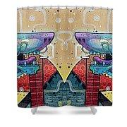 Mirrored Aztec Dog Shower Curtain