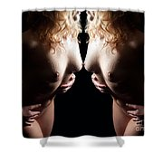 Mirrored Nude Beauty Shower Curtain