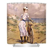 Miss Bicycle 1894 Shower Curtain