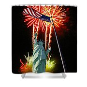 Miss Liberty And Fireworks Shower Curtain