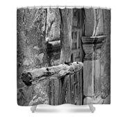 Mission Espada - Wooden Cross - Bw Shower Curtain