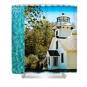 Mission Point Light House Michigan Shower Curtain