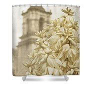 Mission San Jose And Blooming Yucca Shower Curtain