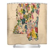 Mississippi Map Vintage Watercolor Shower Curtain