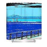 Mississippi River Bridge Poster Shower Curtain