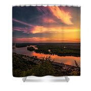Mississippi River Evening Shower Curtain