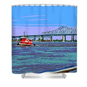 Mississippi River Scene Poster Shower Curtain
