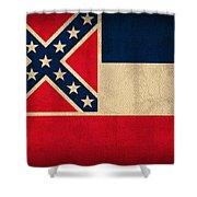 Mississippi State Flag Art On Worn Canvas Shower Curtain