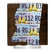 Mississippi State License Plate Map Art Shower Curtain