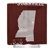 Mississippi State University Bulldogs Starkville College Town State Map Poster Series No 068 Shower Curtain