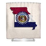 Missouri Map Art With Flag Design Shower Curtain