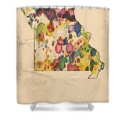 Missouri Map Vintage Watercolor Shower Curtain