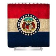 Missouri State Flag Art On Worn Canvas Shower Curtain