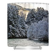 Mist And Snow On Trees Shower Curtain