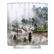 Mist And Village Shower Curtain