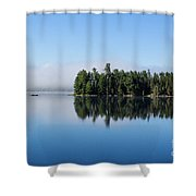 Mist On Lake Of Two Rivers Shower Curtain