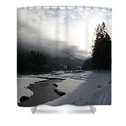 Mist Over A Snowy Valley Shower Curtain