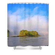 Mist Rising On The Willamette River Shower Curtain