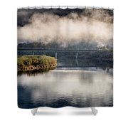 Mists And Bridge Over Klamath Shower Curtain