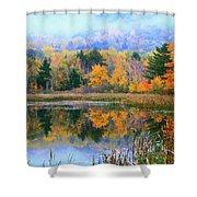 Misty Autumn Pond  Shower Curtain