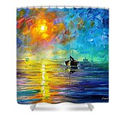 Misty Calm - Palette Knife Oil Painting On Canvas By Leonid Afremov Shower Curtain