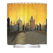 Misty Dawn Charles Bridge Prague Shower Curtain by Richard Harpum