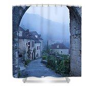 Misty Dawn In Saint Cirq Lapopie Shower Curtain by Brian Jannsen