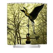 Misty Egret - Gold Shower Curtain