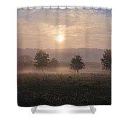 Misty Farm At Sunrise Shower Curtain