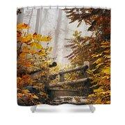 Misty Footbridge Shower Curtain