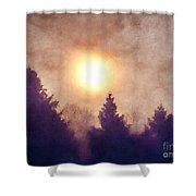 Misty Forest Sunrise Shower Curtain