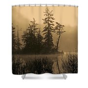 Misty Lake And Trees Silhouette Shower Curtain