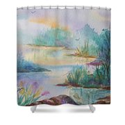 Misty Morn On A  Mountain Lake Shower Curtain