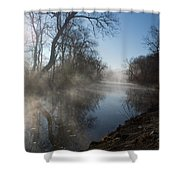 Misty Morning Along James River Shower Curtain