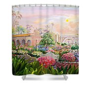Misty Morning At Mission San Juan Capistrano  Shower Curtain by Jan Mecklenburg
