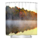 Misty Morning At Stoneledge Lake Shower Curtain by Terri Gostola