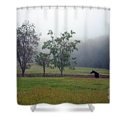 Misty Morning At The Farm Shower Curtain