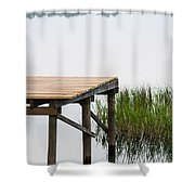 Misty Morning By The Dock Shower Curtain