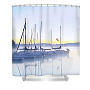Misty Morning Sailboats Shower Curtain