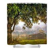 Misty Mountain Barn Shower Curtain