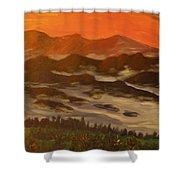 Misty Mountain Morning Shower Curtain