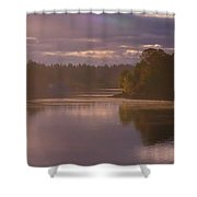 Misty River Reflection Shower Curtain