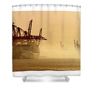 Misty Seattle Waterfront Shower Curtain