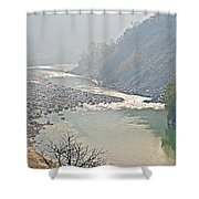 Misty Seti River Rapids In Nepal  Shower Curtain