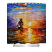 Misty Ship - Palette Knife Oil Painting On Canvas By Leonid Afremov Shower Curtain