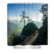 Misty Sunrise On Neurathen Castle Shower Curtain