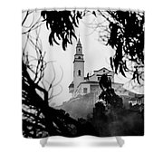 Misty View Of Monserrate Church Shower Curtain